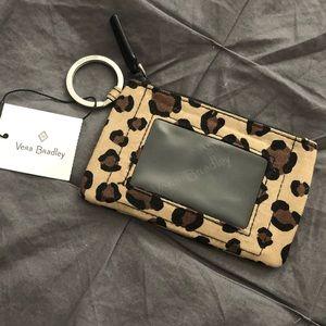NWT Vera Bradley Leopard Print Zip ID Case